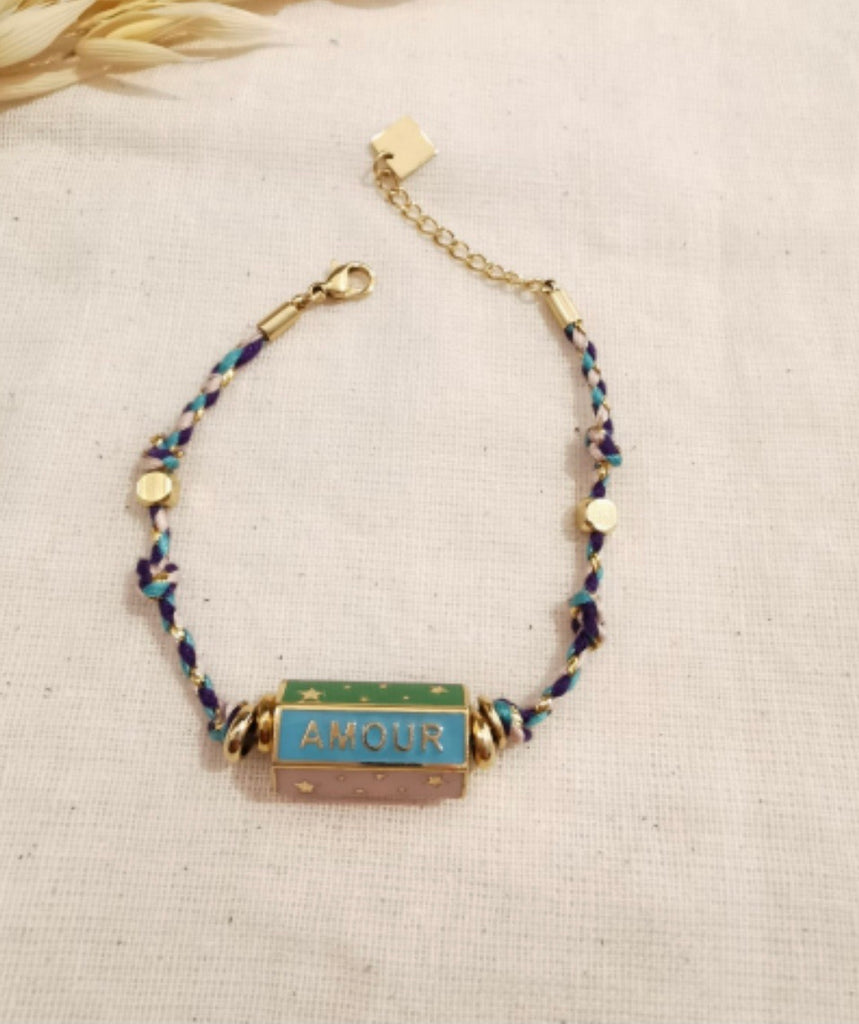 HAPPY AMOUR DREAM BAR BRACELET WITH BLUE ROPE