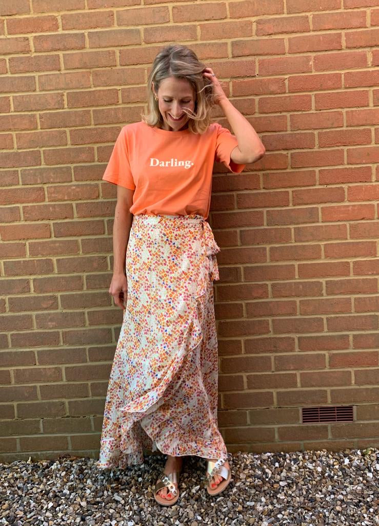BARCELONA MAXI SKIRT IN CLEMENTINE