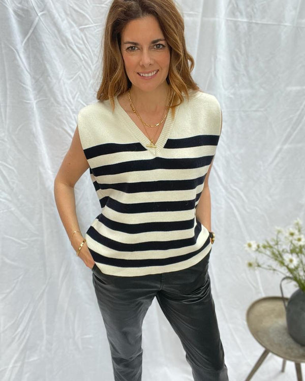 CLELIA VEST IN CREAM & NAVY STRIPES