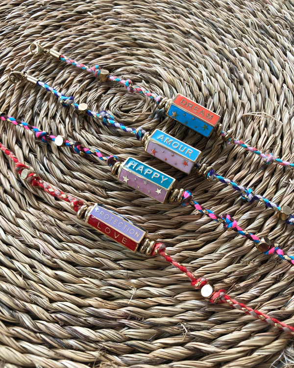 HAPPY AMOUR DREAM BAR BRACELET WITH MULTICOLOUR ROPE