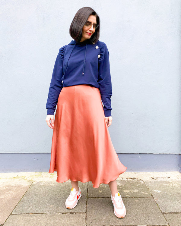 ELISE MIDI SKIRT IN BLUSH