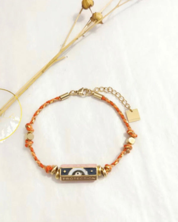 LOVE PROTECTION BAR BRACELET WITH ORANGE ROPE