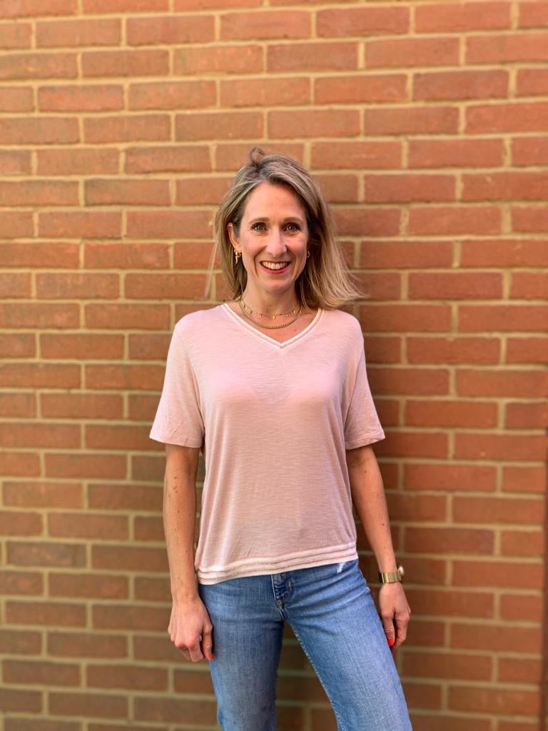 SHORT SLEEVED MARIE TOP IN PINK