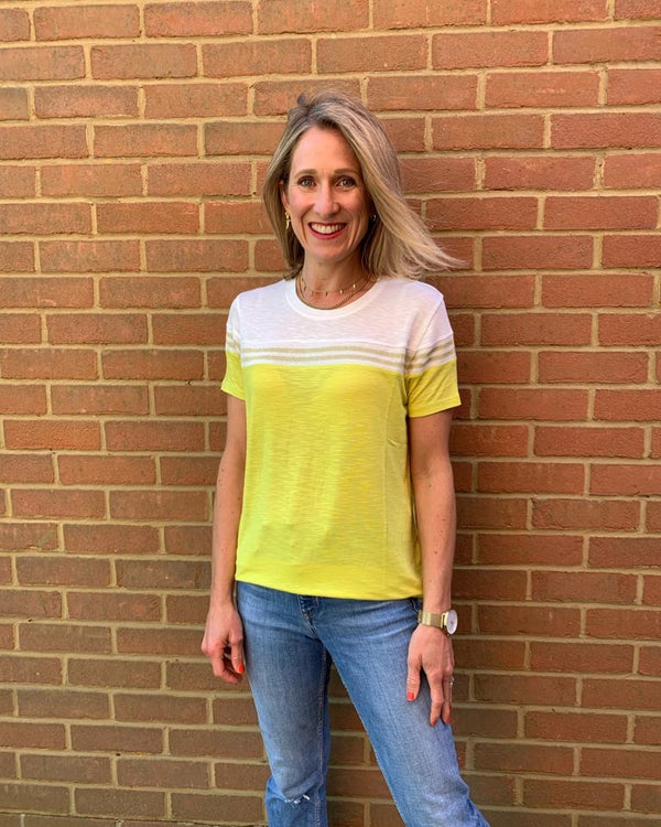 SHORT SLEEVED TUTTI FRUITTI TOP IN LEMON