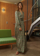 MISHA MAXI DRESS IN PINK & GREEN LEAVES