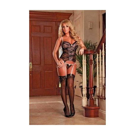Bustier & G-string Set - Black - Large/extra Large