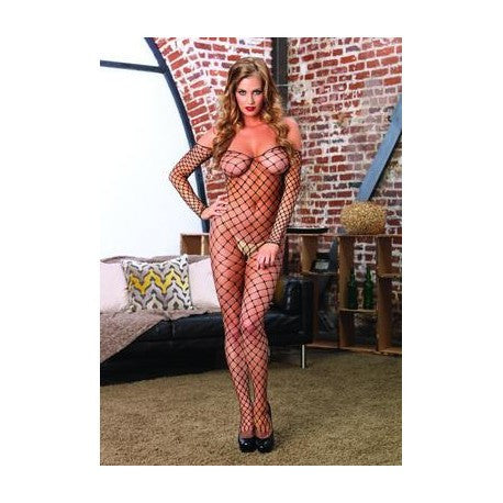 Fence Net off the Shoulder Bodystocking - One Size
