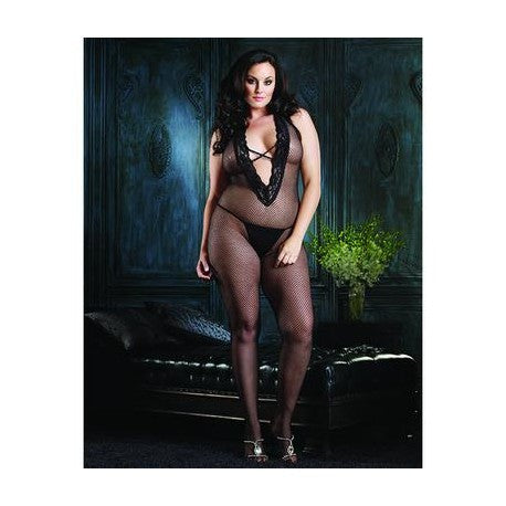 Fishnet Bodystocking with Deep-v Halter Top - Black - Queen Size