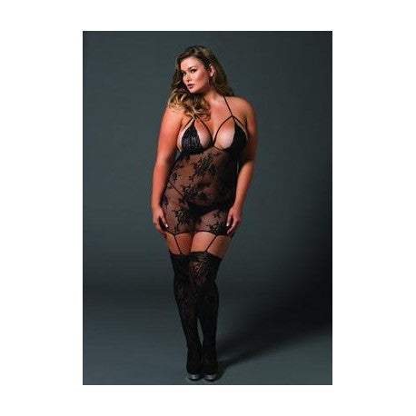 Lace Cage Strap Suspender Bodystocking - Black - Queen Size