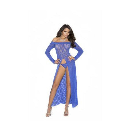 Long Sleeve Lace Gown - Blue - One Size