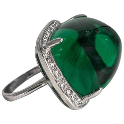 Art Deco Style Large Synthetic Cabochon Emerald Cubic Zirconia Ring