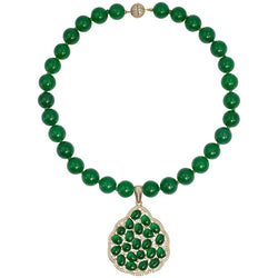 Faux Imperial Jade Diamond Gold Covered Sterling Pendant Necklace