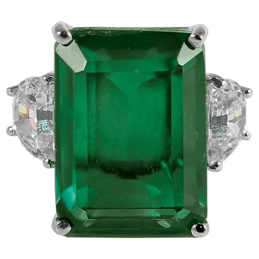 20 Carat Synthetic Rectangular Step Cut Green Emerald Cubic Zirconia Ring