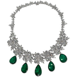 Maharajah Jewel Collection Amazing Faux Diamond Emerald Necklace