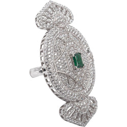 1920s Style Faux Diamond Emerald Sterling Large Cocktail Ring