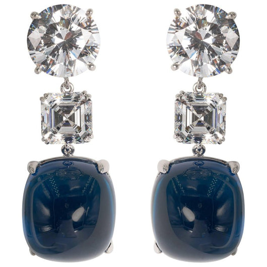 Large Cabochon Sapphire Cubic Zirconia Earrings