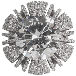15 Carat Round Pave CZ Cubic Zirconia Ring