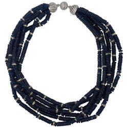 Vintage Bergdorf Goodman Chic Faux Sapphire Crystal Rondel Twist Collar Necklace
