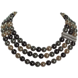 Three Strand Synthetic Tahitian Pearl Cubic Zirconia Necklace