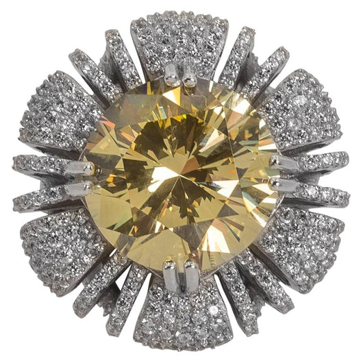 15 Carat Round Canary Cubic Zirconia Ring
