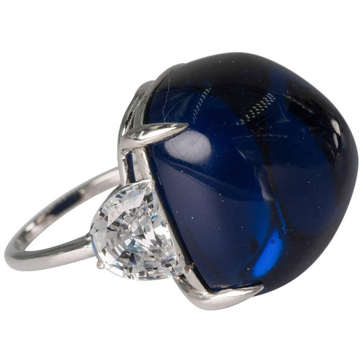 Synthetic Royal Kashmir Royal Blue Cabochon Sapphire Cubic Zircon Sterling Ring