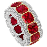 Stunning Synthetic Ruby Cubic Zirconia half inch wide band