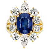 Synthetic Burma Sapphire Cubic Zirconia Halo Cluster Vermeil Ring
