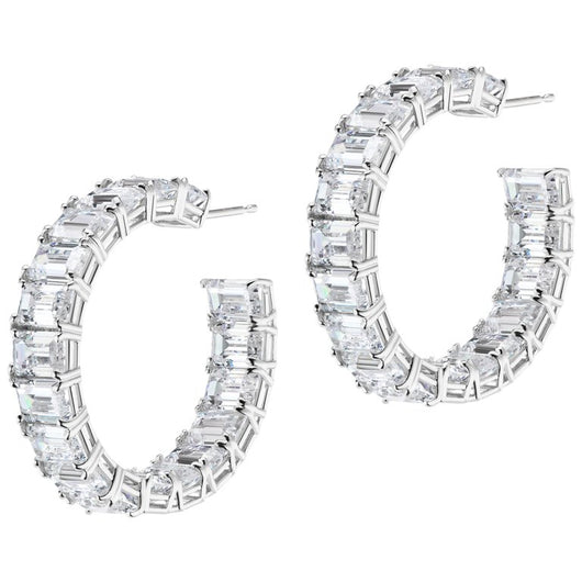 Large Baguette Cubic Zirconia Hoop Sterling Earrings