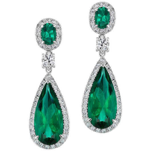 Synthetic Emerald Cubic Zirconia Sterling Earrings