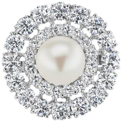 Cubic Zirconia Pearl Sterling Silver Statement Ring