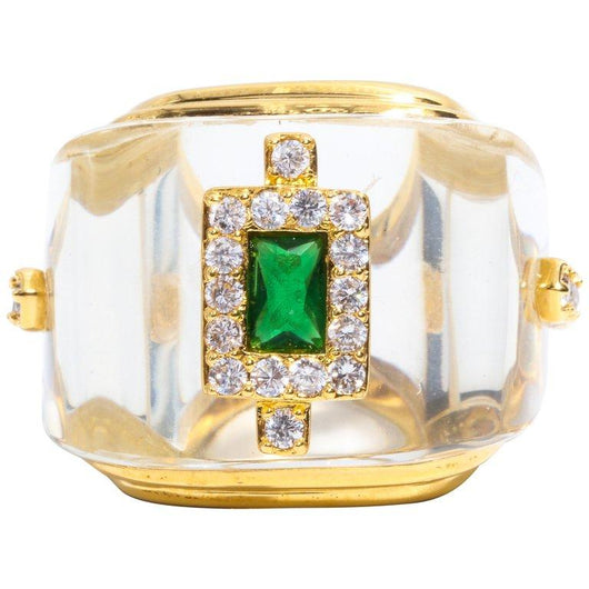 Faux Rock Crystal Emerald Diamond Ring