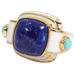 Art Deco Style Large Lapis Turquoise Statement Ring