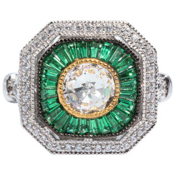 Art Deco Style Pretty Cubic Zirconia Emerald Sterling Ring