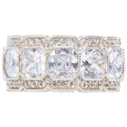 Stunning Cubic Zirconia Half Inch Wide Band