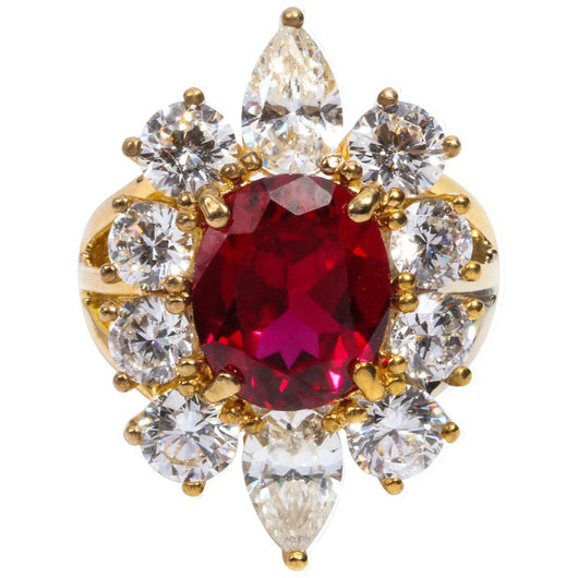 Synthetic Burma Ruby Cubic Zirconia Halo Cluster Vermeil Ring