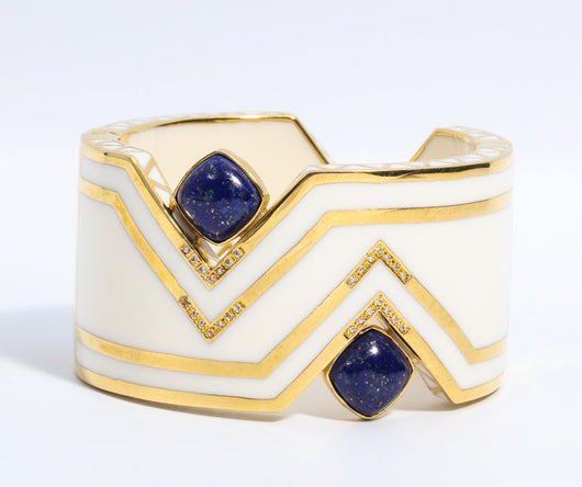 Art Deco Style Palm Beach Enamel Large Cuff Bangle