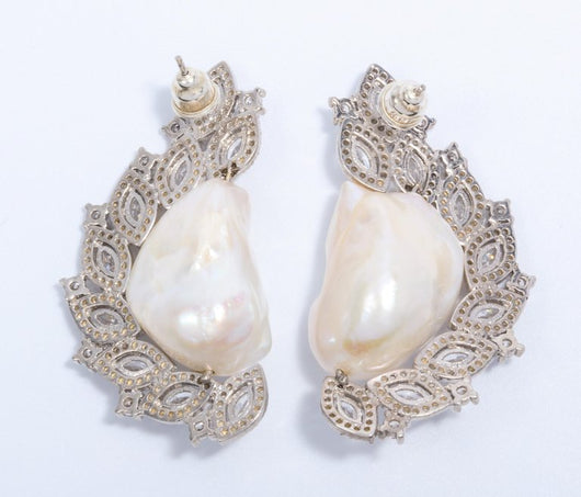 Big Freshwater Pearl Cubic Zirconia Sterling Earrings