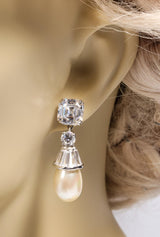 Modern Art Deco Style Diamond Pearl Drop Earrings