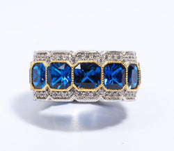 Stunning Synthetic Sapphire Cubic Zirconia Half Inch Wide Band