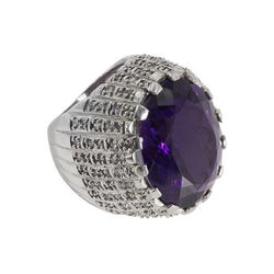 Amazing Amethyst Faux Diamond Sterling Silver Knuckle Duster Cocktail Ring