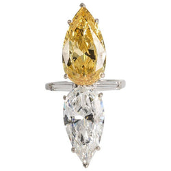 Art Deco Style Double Canary White Cubic Zirconia Pear Shaped Diamond Sterling Silver Rhodium Plated Ring