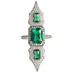 Elegantly Feminine Faux Diamond Emerald Sterling Silver Arabesque Ring
