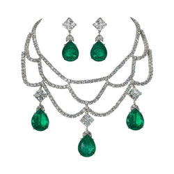 Magnificent Faux Diamond Emerald Sterling Silver Necklace Earring Set