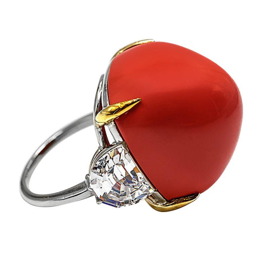 Superb Faux French Pyramid-Cut Cabochon Coral White And Yellow Gold Ring