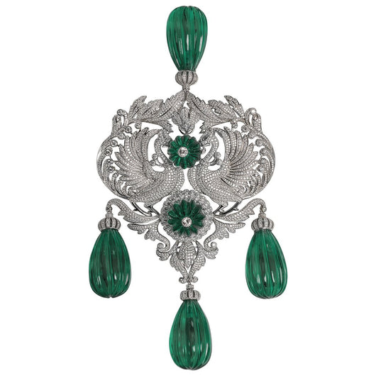 Impressive Maharajah Turban Faux Diamond Carved Emerald Sterling Silver Large Brooch