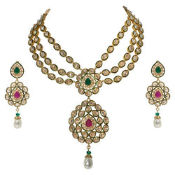 Fabulous Jewels of India Maharani Glamor Necklace and Earclips