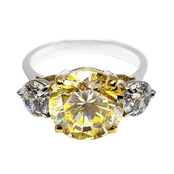 Faux Canary and white diamond trinity ring