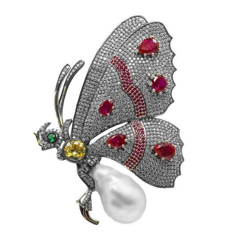 Magnificent Antique Style Faux Diamond Ruby Real Pearl Gem Set Sterling Silver Butterfly Pin