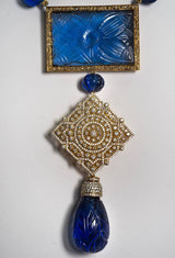 Fabulous Maharajah Jewel Collection Carved Faux Sapphire Diamond Vermeil Sterling Silver Necklace