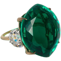 Maharajah Jewel Collection Stylish Faux Emerald Diamond Gold Ring